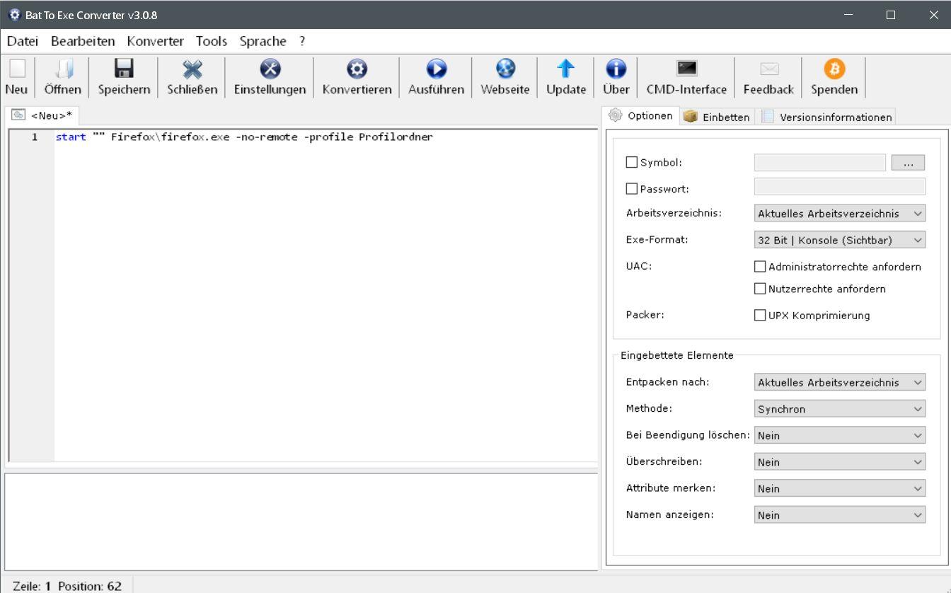 text per kopieren - Batch Datei in eine .exe Datei umwandeln