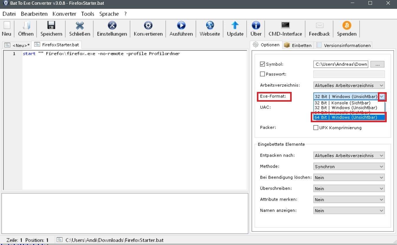 unsichtbar anhaken - Batch Datei in eine .exe Datei umwandeln