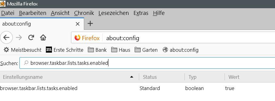 vorher - Firefox Tooltip beim Rechtsklick auf das Firefox Icon in der Taskleiste deaktivieren