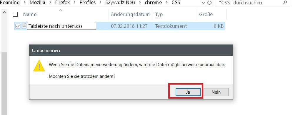warnmeldung fuer css - Firefox  userChrome.css aufräumen