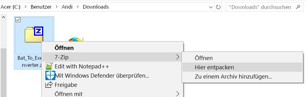 zip entpacken - Batch Datei in eine .exe Datei umwandeln