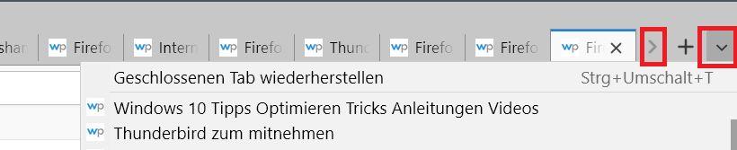 zwei pfeile - Firefox Mehrzeilige Tableiste