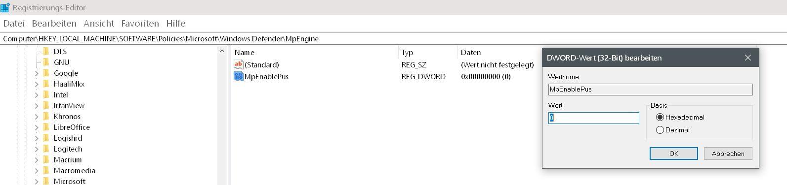 alter wert 2 - Windows Defender auch mit Malware-Schutz