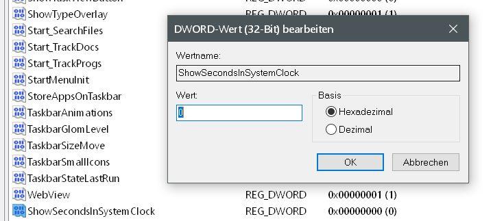 Windows 10 Uhrzeit in der Taskleiste mit Sekundenanzeige 7
