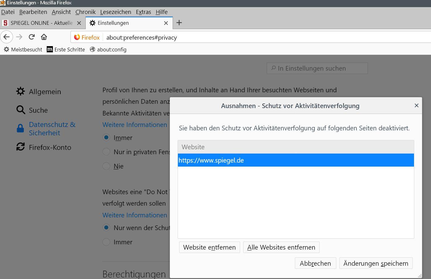 ausnahmen - Firefox Webseiten melden Bitte Adblocker deaktivieren, obwohl keiner aktiviert ist