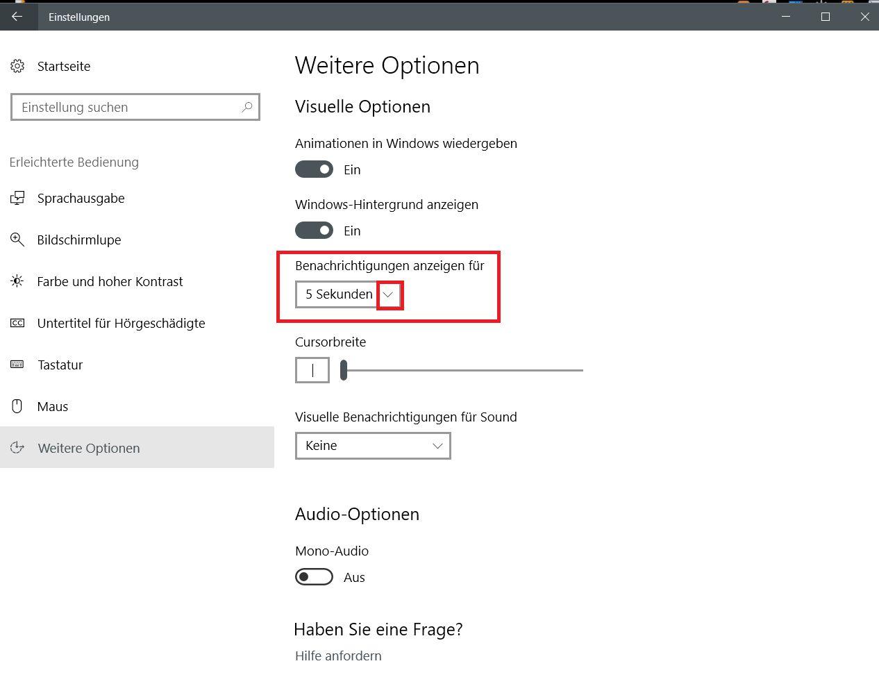 benachrichtigungen 1 - Windows 10 Benachrichtigungs Popup die Anzeigedauer ändern