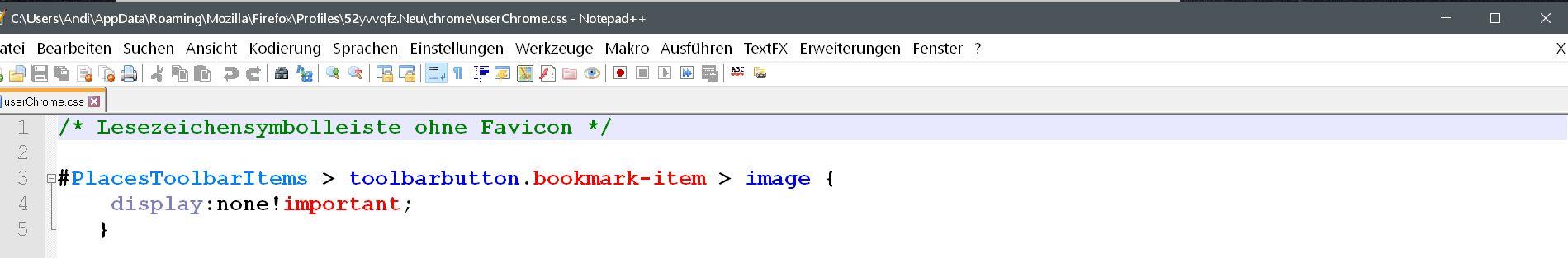 code ohne favicon  - Firefox Lesezeichensymbolleiste ohne Text anzeigen