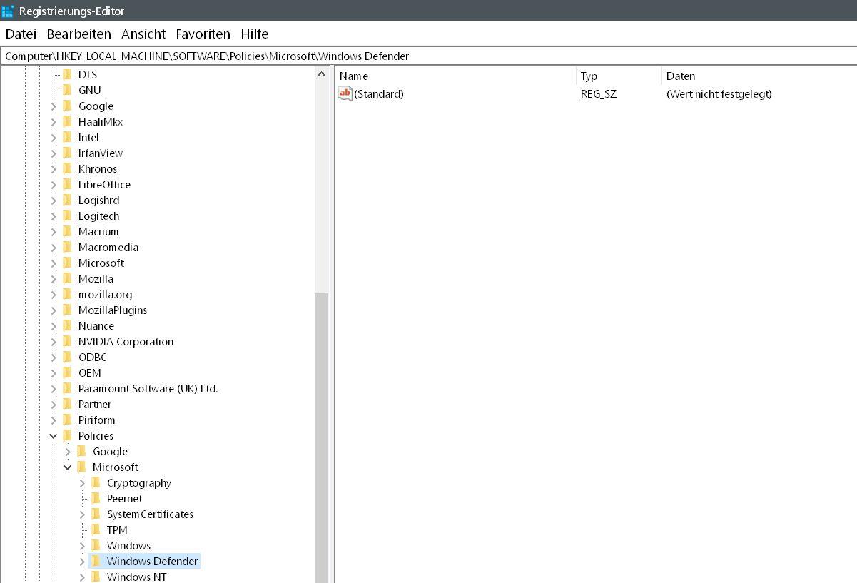 defender eintrag - Windows Defender auch mit Malware-Schutz