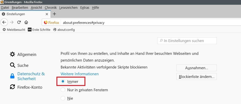 einstellung immer 1 - Firefox Webseiten melden Bitte Adblocker deaktivieren, obwohl keiner aktiviert ist