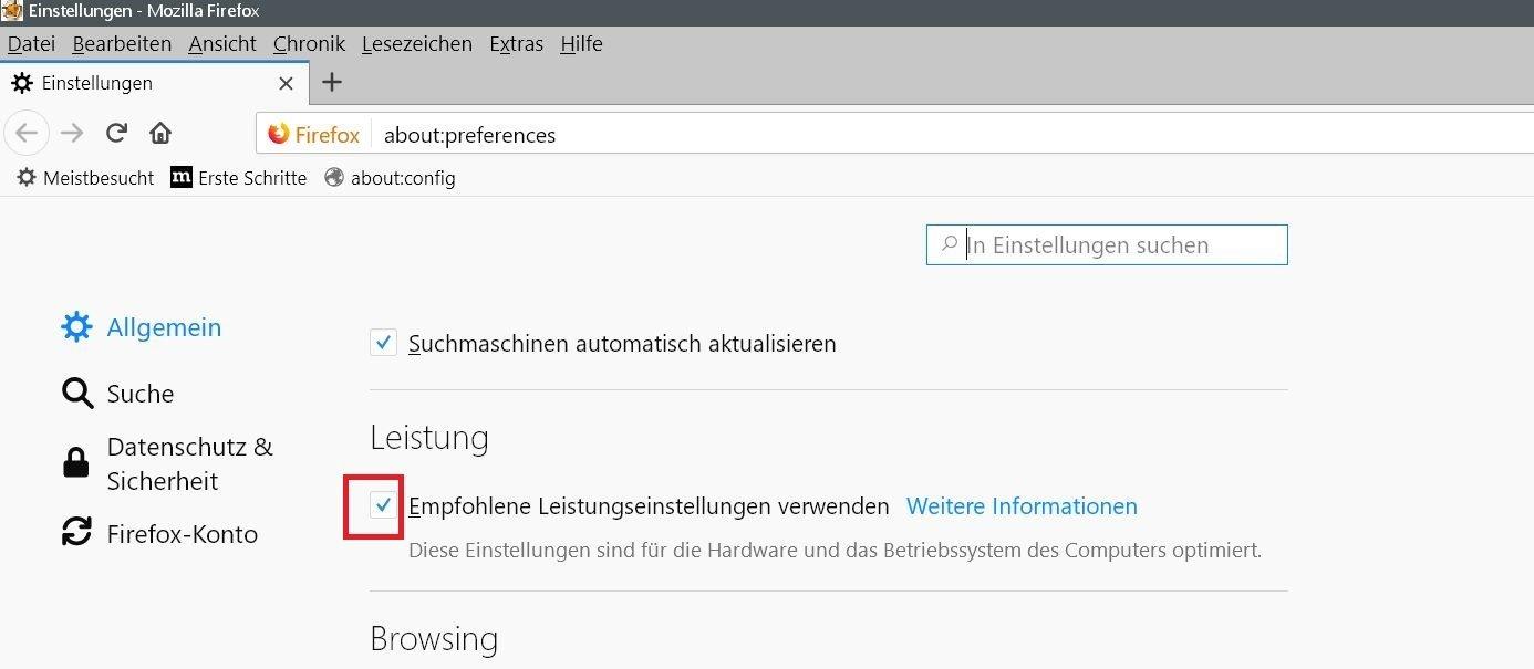 einstellung oeffnen - Firefox Grafikfehler in der neuen Version 59