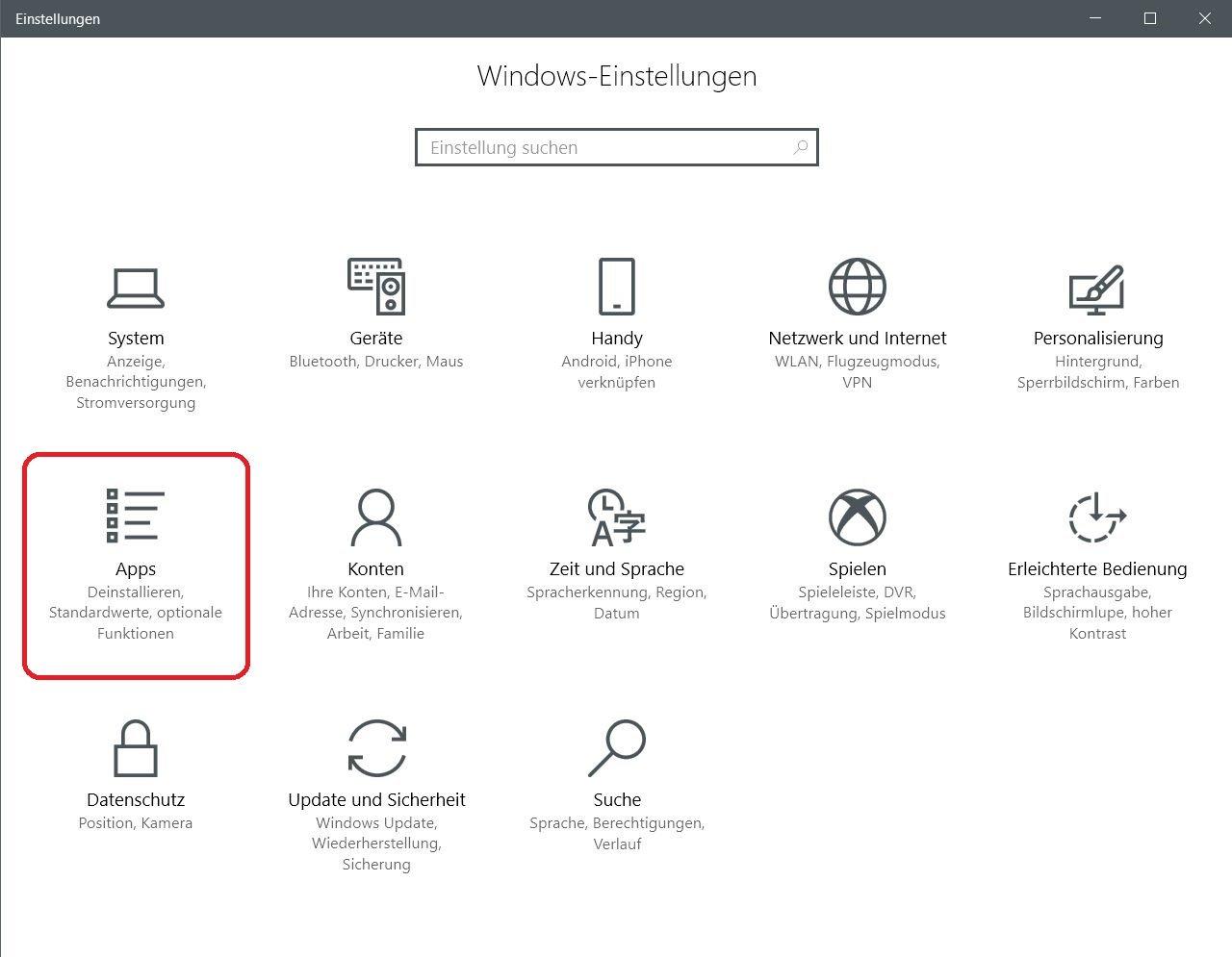 einstellungen apps anklicken - Windows 10 Paint 3D deinstallieren oder wieder installieren