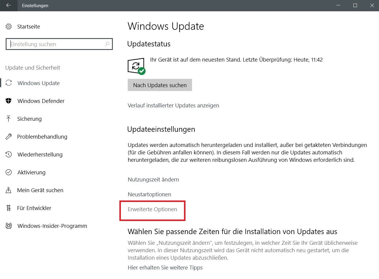 erweiterte optionen - Windows 10 Internetbandbreite bei Windows Updates begrenzen