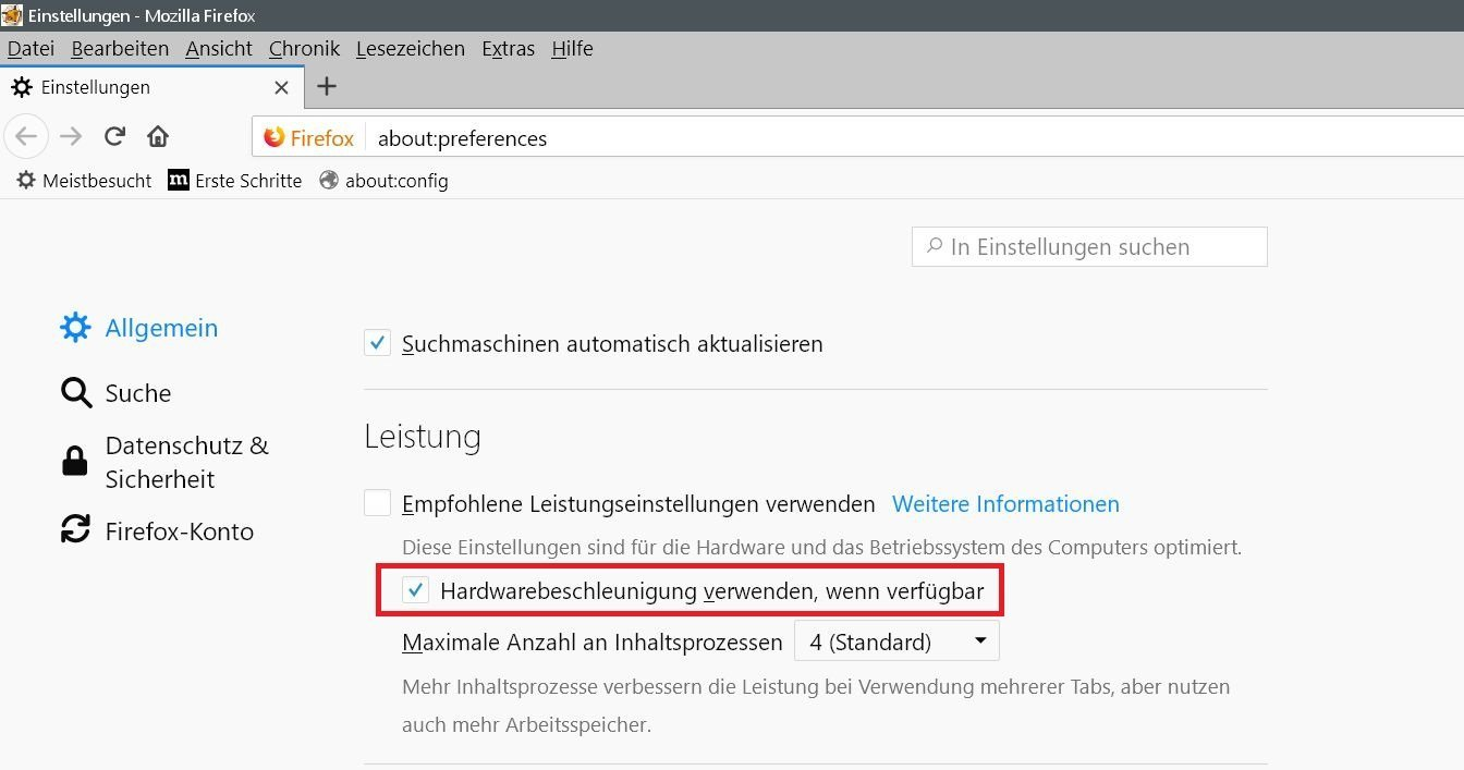 Firefox Grafikfehler in der neuen Version 59 3