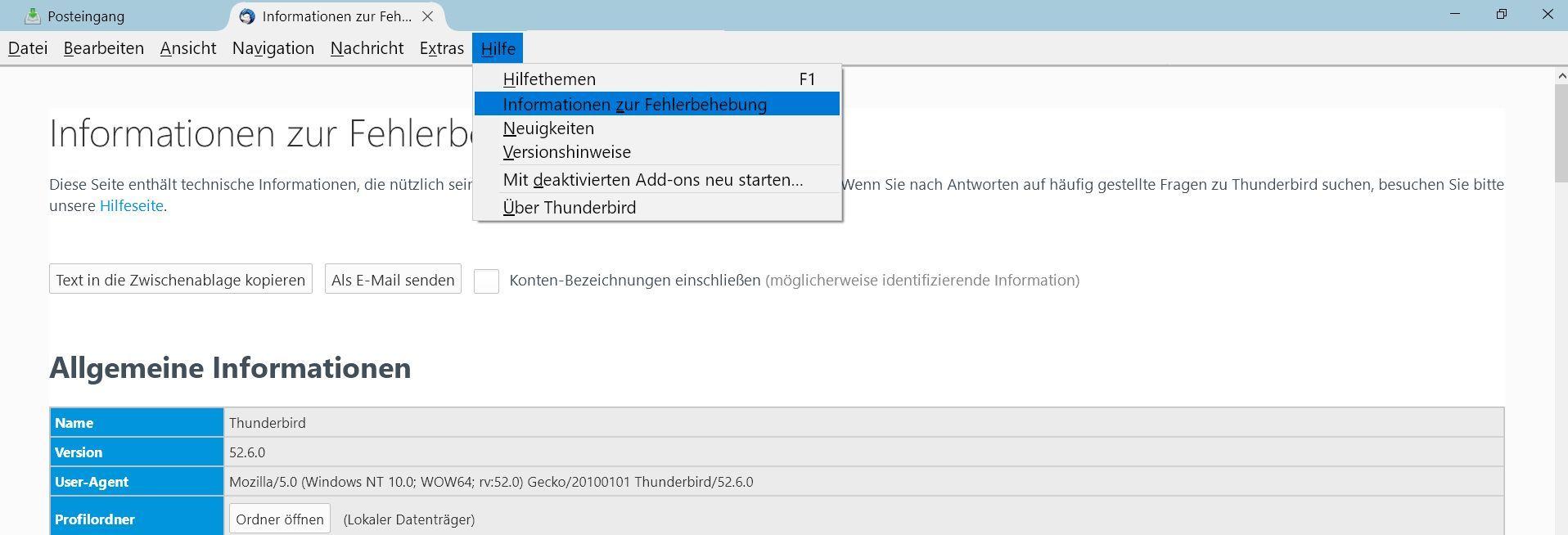 informationen zur - Mit Thunderbird auf einen neuen PC umziehen
