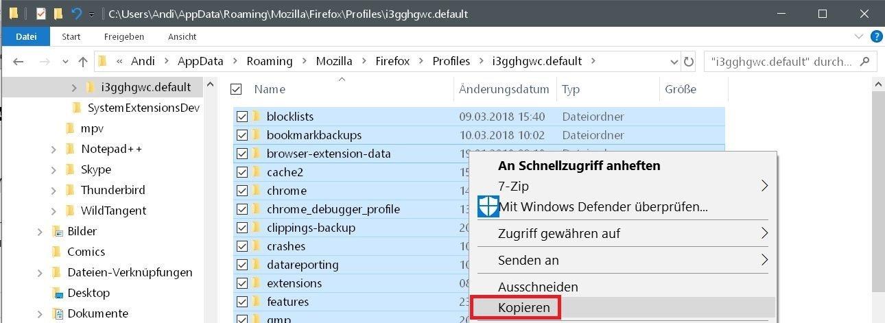 inhalt kopieren - Mit dem Firefox auf einen neuen PC umziehen