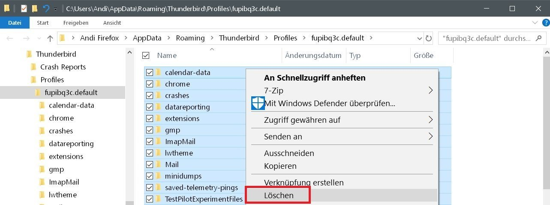inhalt loeschen - Mit Thunderbird auf einen neuen PC umziehen