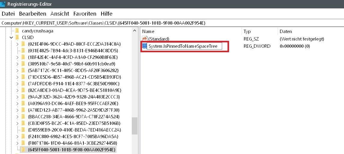 name eingetragen - Windows 10 Papierkorb auch im Datei Explorer anzeigen lassen