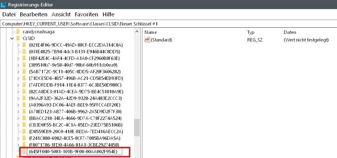 name erstellt - Windows 10 Papierkorb auch im Datei Explorer anzeigen lassen