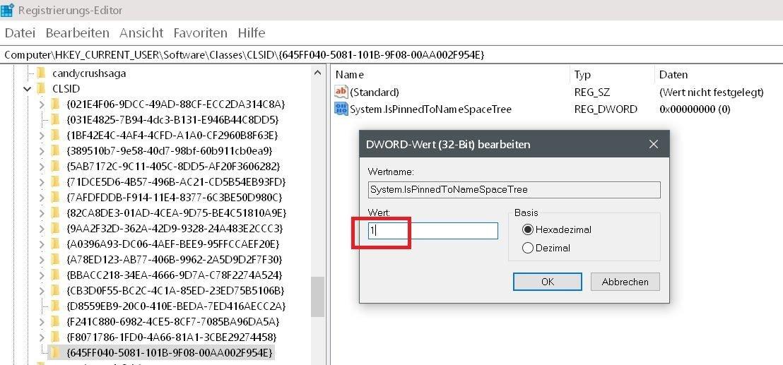 neuer wert 1 - Windows 10 Papierkorb auch im Datei Explorer anzeigen lassen