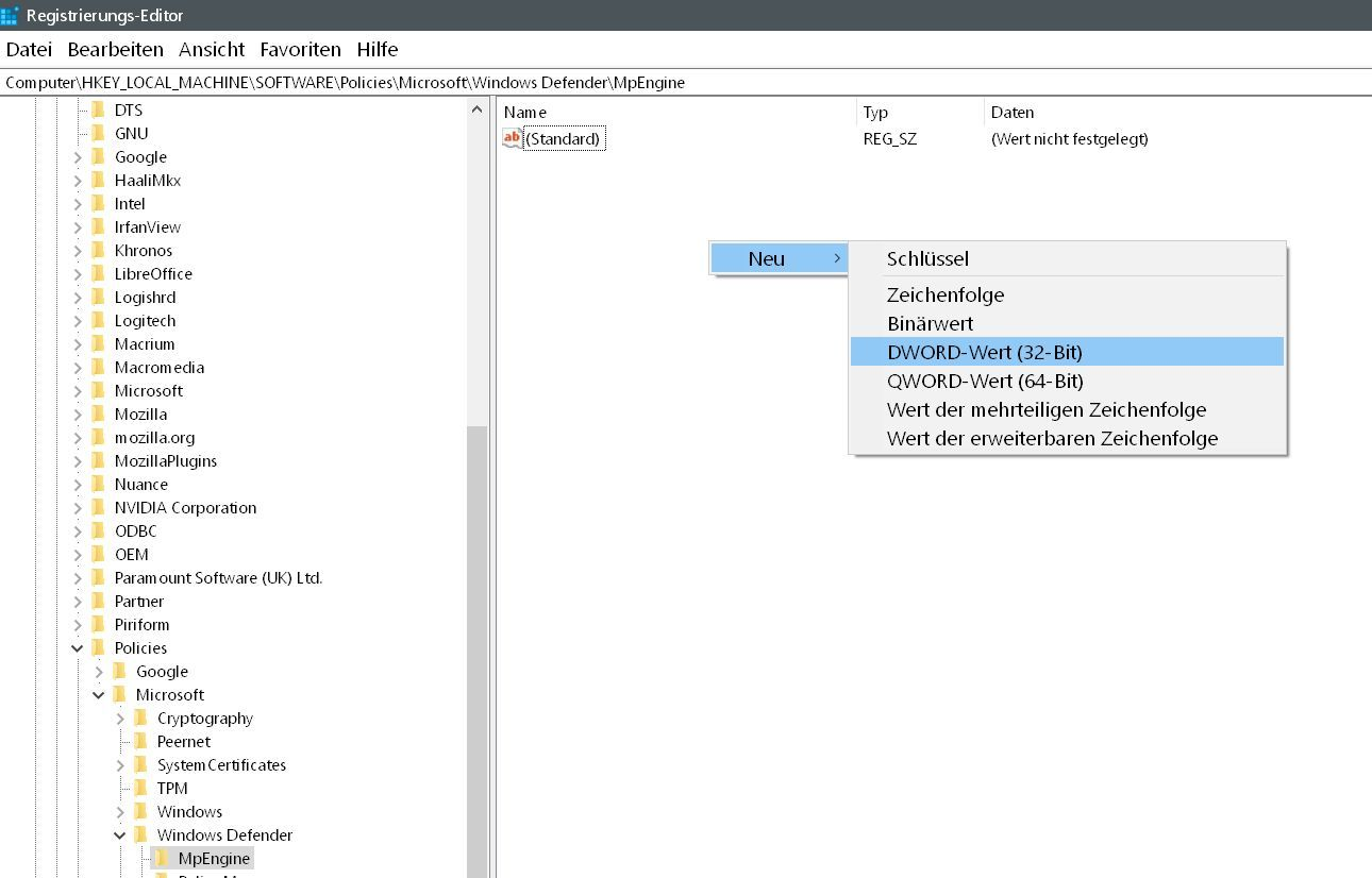 neuer wert 2 - Windows Defender auch mit Malware-Schutz