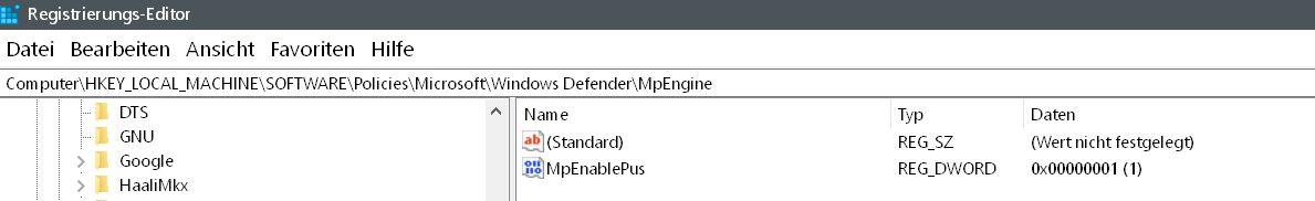 neuer wert erstellt - Windows Defender auch mit Malware-Schutz