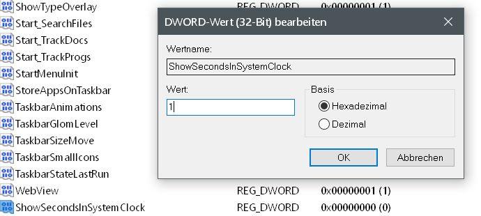 Windows 10 Uhrzeit in der Taskleiste mit Sekundenanzeige 8