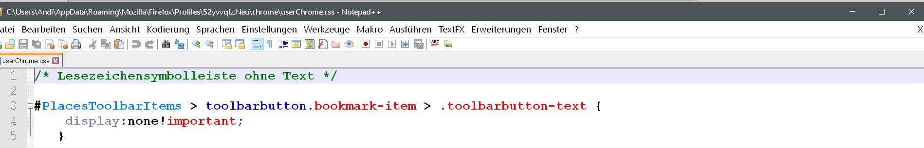 ohne text - Firefox Lesezeichensymbolleiste ohne Text anzeigen