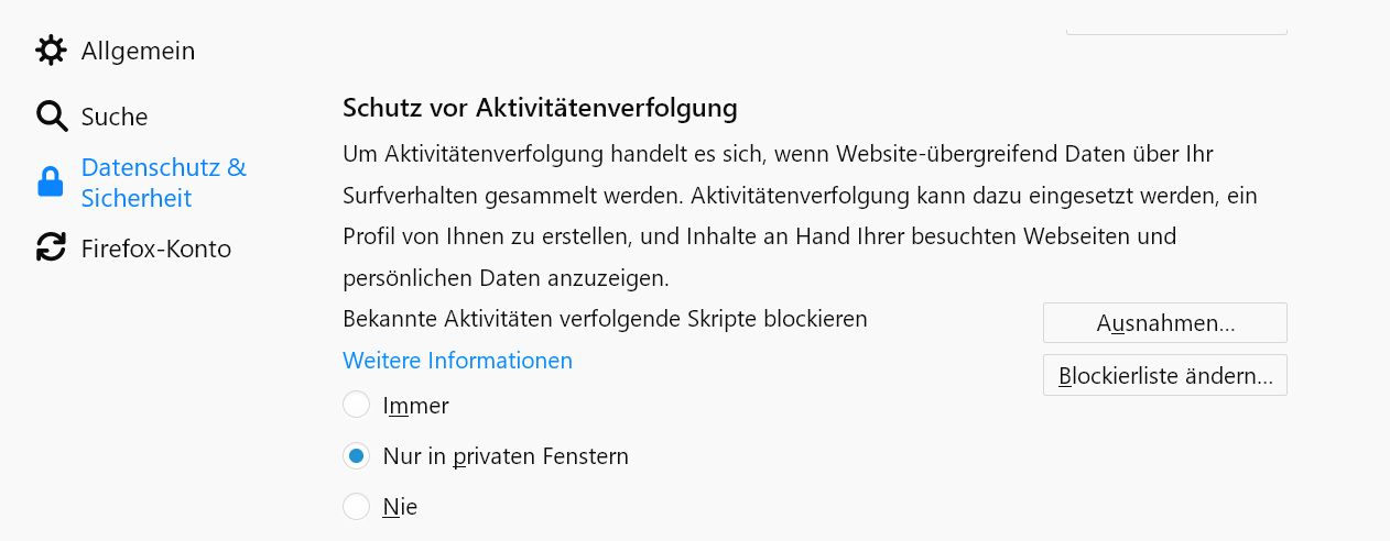 private fenster - Firefox Webseiten melden Bitte Adblocker deaktivieren, obwohl keiner aktiviert ist