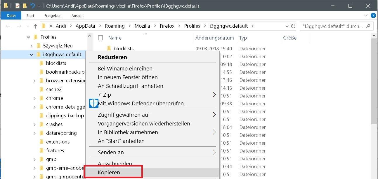 profilordner kopieren - Mit dem Firefox auf einen neuen PC umziehen