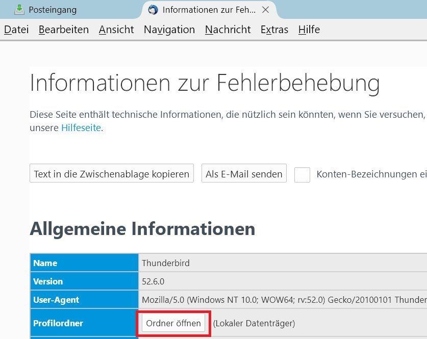profilordner oeffnen - Mit Thunderbird auf einen neuen PC umziehen