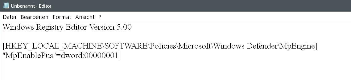 reg als text - Windows Defender auch mit Malware-Schutz