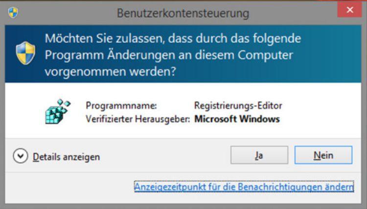 reg warnung - Windows 10 Systemsteuerung ins Kontextmenü hinzufügen
