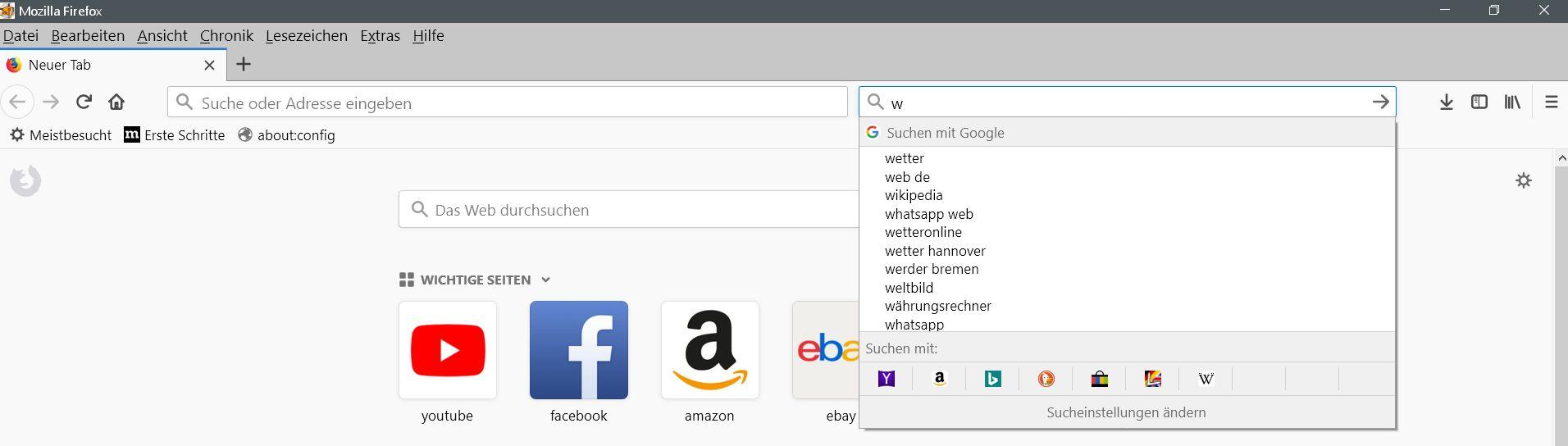 suchleiste vorschlaege - Firefox Die Suchmaschinen Auswahl in der Adressleiste ausblenden