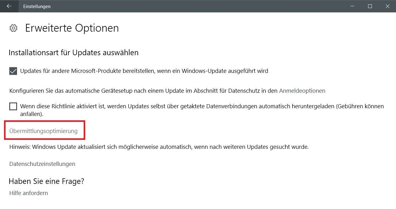 uebermittlunsoptimierung - Windows 10 Internetbandbreite bei Windows Updates begrenzen