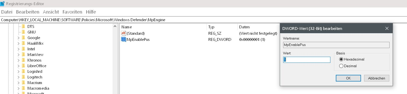 wert auf 1 1 - Windows Defender auch mit Malware-Schutz