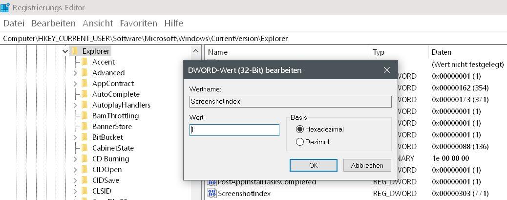 wert auf 1 - Windows 10 Screenshots - die Nummerierung zurücksetzen auf 0