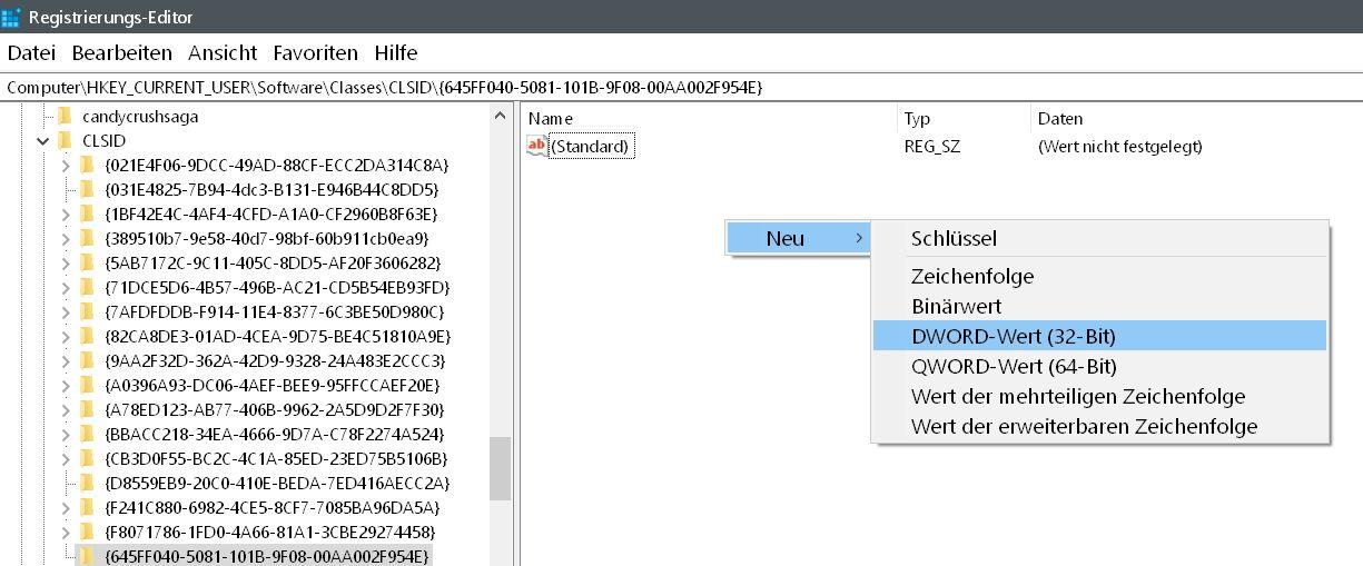 wert erstellen - Windows 10 Papierkorb auch im Datei Explorer anzeigen lassen