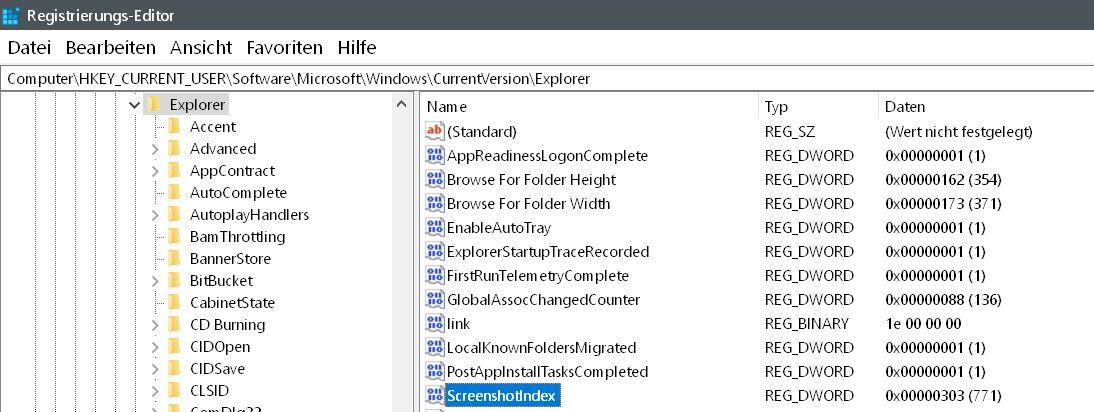 wert gefunden - Windows 10 Screenshots - die Nummerierung zurücksetzen auf 0
