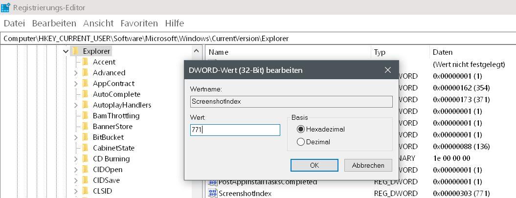 wert vorher - Windows 10 Screenshots - die Nummerierung zurücksetzen auf 0