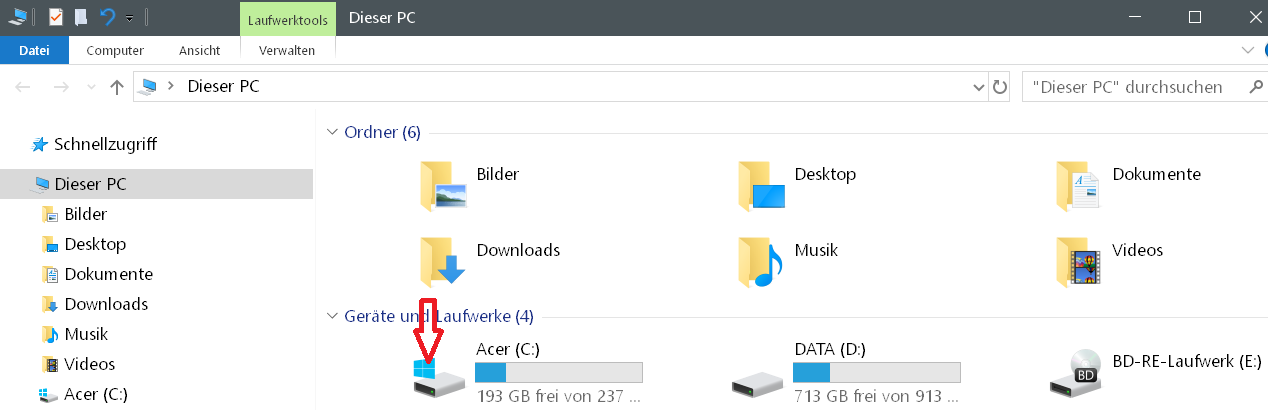 betriebssytem icon - Windows 10 Hardware Icon ändern