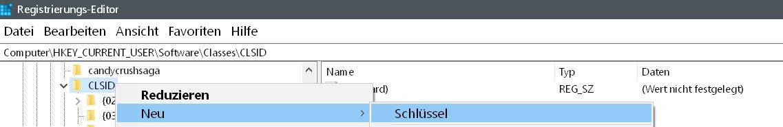 clsid neuer schluessel - Windows 10 Icon Schnellzugriff ändern