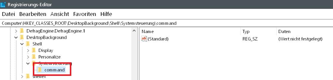 command - Windows 10 Systemsteuerung ins Kontextmenü hinzufügen