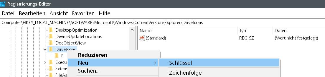 driveicons neuer schluessel - Windows 10 Hardware Icon ändern