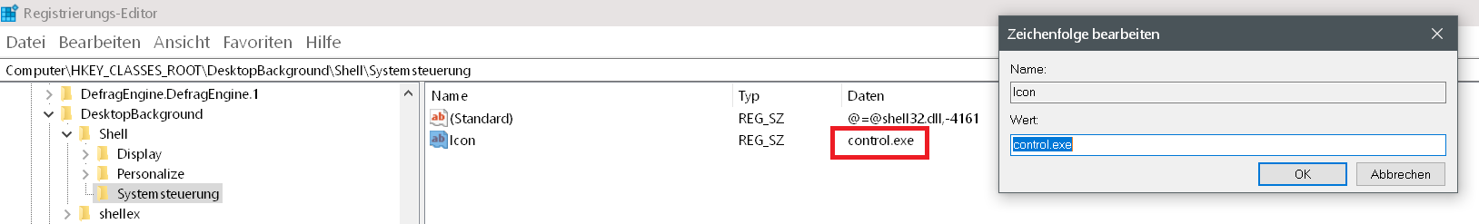 icon name - Windows 10 Systemsteuerung ins Kontextmenü hinzufügen
