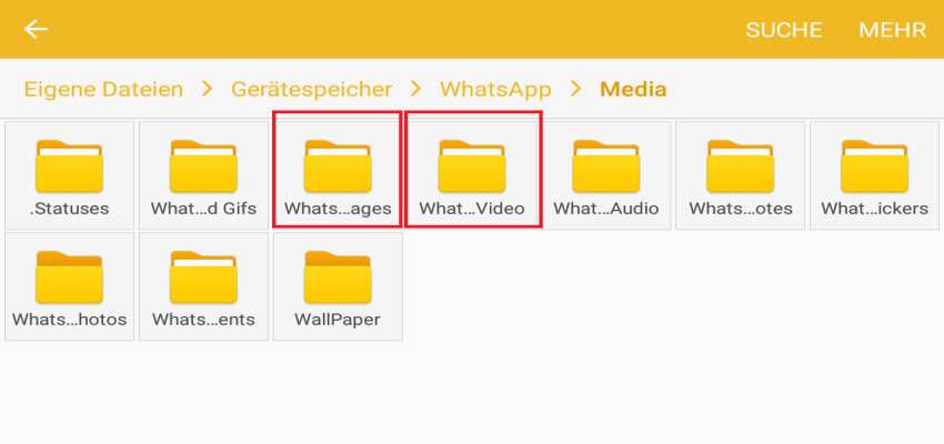 images videos - WhatsApp Sent Ordner löschen
