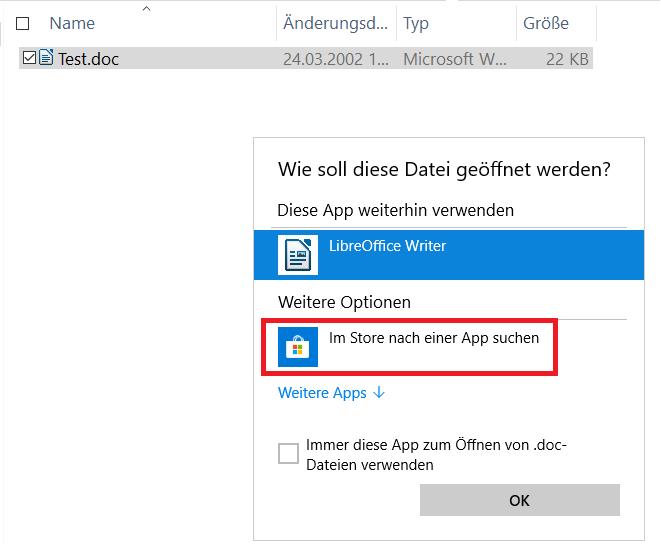 """mit eintrag - Windows 10 """"Im Store nach einer App suchen"""" entfernen"""