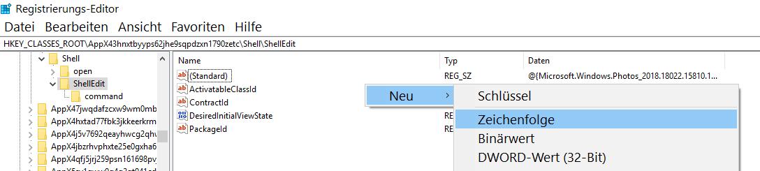"""neu zeichenfolge - Windows 10 """"Mit Fotos bearbeiten"""" aus dem Kontextmenü entfernen oder nur verstecken"""