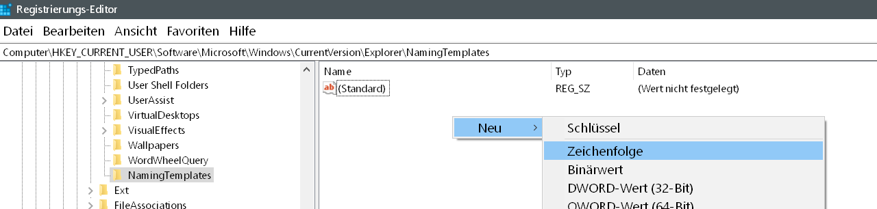"""neue zeichenfolge - Windows 10 Den Zusatz """"Verknüpfung"""" entfernen auf dem Desktop"""