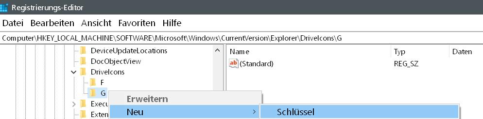 neuer schluessel fuer g - Windows 10 Hardware Icon ändern