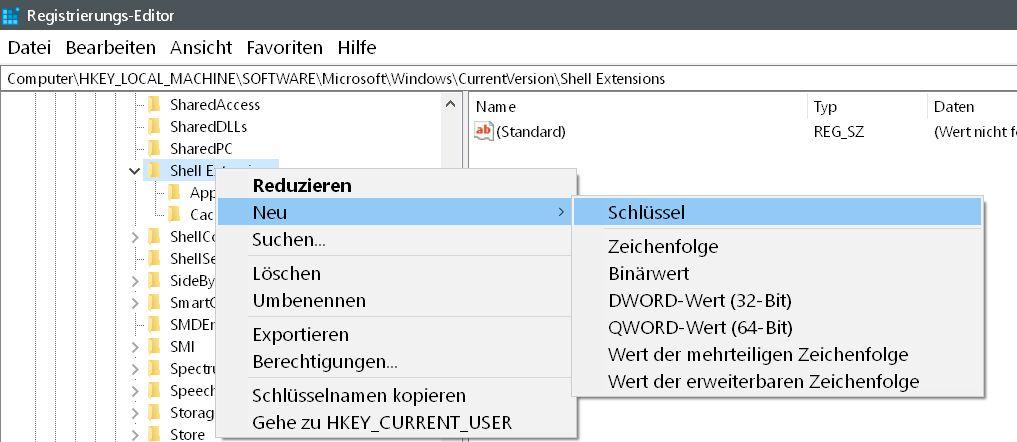 neuer schluessel - Windows 10 Vorgängerversion wiederherstellen aus dem Kontextmenü entfernen